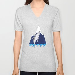 Whale mountain Unisex V-Neck