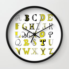 Yellow alphabet Wall Clock