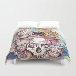 vintage floral skull Duvet Cover