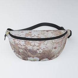 Rustic vintage ivory brown lace floral typography Fanny Pack