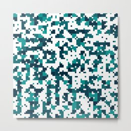 Take me to the bottom of the ocean - Random Pixel Pattern in shades of blue green Metal Print