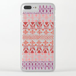 Norwegian Pattern – Reds & Corals Clear iPhone Case
