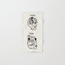 Then and Now Pug Compass Pose Hand & Bath Towel