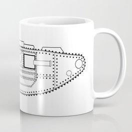 World War One Tank Line Drawing Coffee Mug