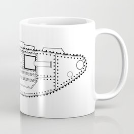 World War One Tank Line Drawing Coffee Mug