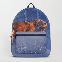 Christmas Horse in the Snow, Running Winter Horses Scene Backpack