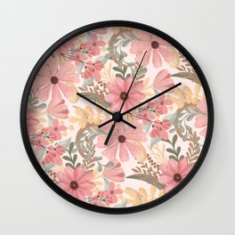 Pink Sage Green Floral Leaves Watercolor Pattern Wall Clock
