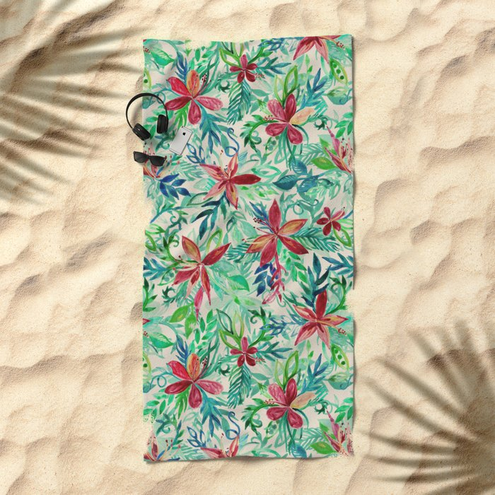 Vintage Tropical Floral - a watercolor pattern Beach Towel