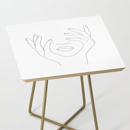 Minimal Line Art Woman with Hands on Face Side Table