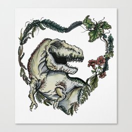 T-Rex Heart Watercolor Canvas Print