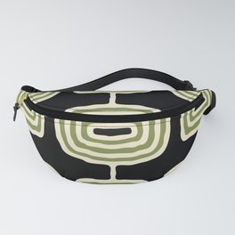 Mid Century Modern Atomic Rings Pattern 236 Black Beige and Olive Green Fanny Pack