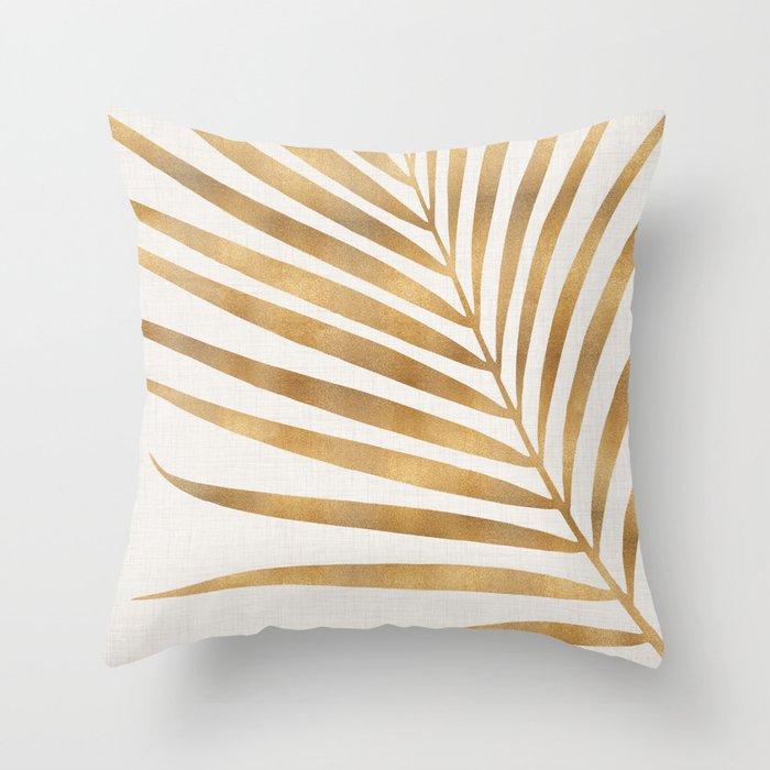 Metallic Gold Palm Leaf Throw Pillow
