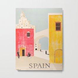 Spain Vintage Travel Poster Mid Century Minimalist Art Metal Print