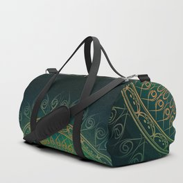 """Dark Clover Green & Gold Mandala Deluxe"" Duffle Bag"
