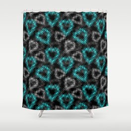 Broken heart . Black and turquoise pattern . Shower Curtain