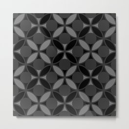 Geometric Circles In Grays and Black Metal Print