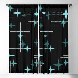 Mid Century Modern Stars Black Teal Blackout Curtain