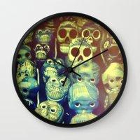 skulls Wall Clocks featuring skulls by Bunny Noir