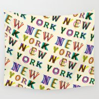 new york Wall Tapestries featuring New York New York by Fimbis