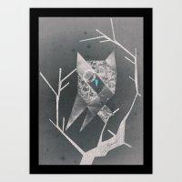 Owl in the night Art Print