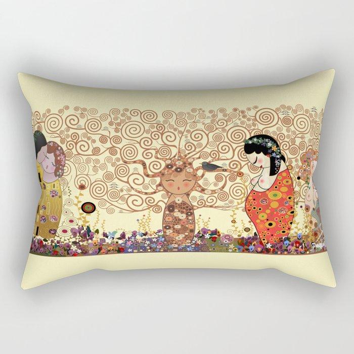 Kokeshis Klimt Rectangular Pillow