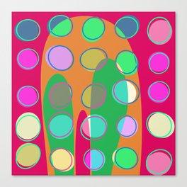 Nouveau Retro Graphic Pink Green Multi Colored Canvas Print