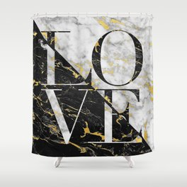 LOVE // Gold Flecked Black & White Marble Shower Curtain