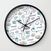 breakfast Wall Clocks featuring BreakfasT by Ceren Aksu Dikenci