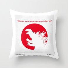 No029-2 My Godzilla 1954 minimal movie poster Throw Pillow
