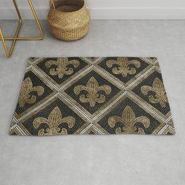 Fleur-de-lis mosaic tile pattern black and gold Rug