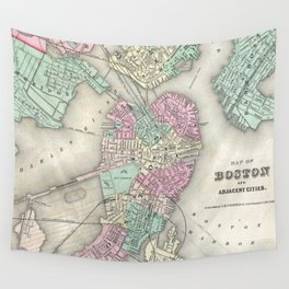 Vintage Map of Boston Harbor (1857) Wall Tapestry
