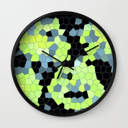 Cell Print Home Decor Graphic Design Pastel Colors Green Grey Blue Black Mint Lime Kiwi Wall Clock