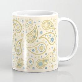 Paisley Funky Design Cream Golds Blues Coffee Mug