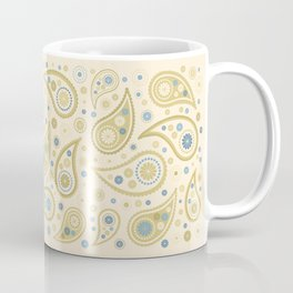 Paisley Funky Design Cream Golds Blues Coffee Mug