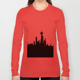 Seattle City Skyline in Black and white Long Sleeve T-shirt