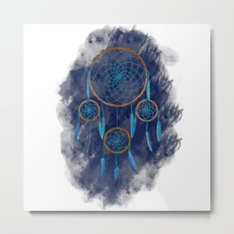 Dreamcatcher Turquoise: Blue background Metal Print
