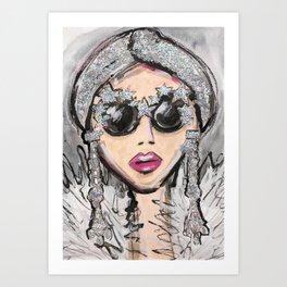 Glittler Glasses Girl Art Print