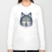 wolf Long Sleeve T-shirts featuring Wolf by Laura Graves