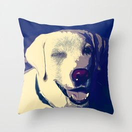 labrador retriever dog winking vector art foggy night Throw Pillow