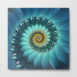 Mystical Gold and Blue Spiral Metal Print
