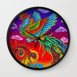 Colorful Fenghuang Chinese Phoenix Rainbow Bird Wall Clock
