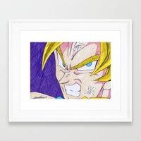 dbz Framed Art Prints featuring Goku DBZ by DeMoose_Art