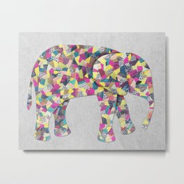 Elephant Collage in Gray Hot Pink Teal and Yellow Metal Print