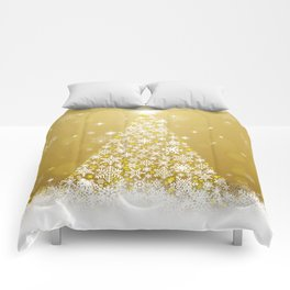 Gold Snowflakes Sparkling Christmas Tree Comforters