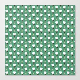 Micro Tulip nude/white/emerald Canvas Print