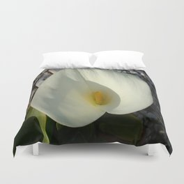 Overhead View of A White Calla Lily Against Pebbles Duvet Cover