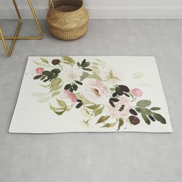 Romantic Loose Rose Bouquet Rug
