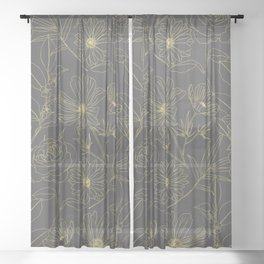 Simple garden flowers gold outlines design Sheer Curtain