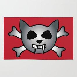 Vampire Kitty Cat Skull and Crossbones Rug
