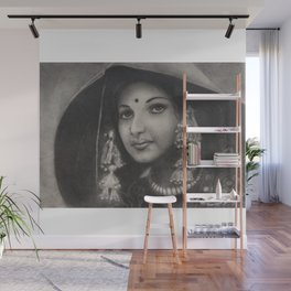 Lambani, Indian Tribal Woman in special costume - in Charcoal Painting Wall Mural